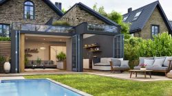 Modern patio outdoor with swimming pool. Modern house interior a